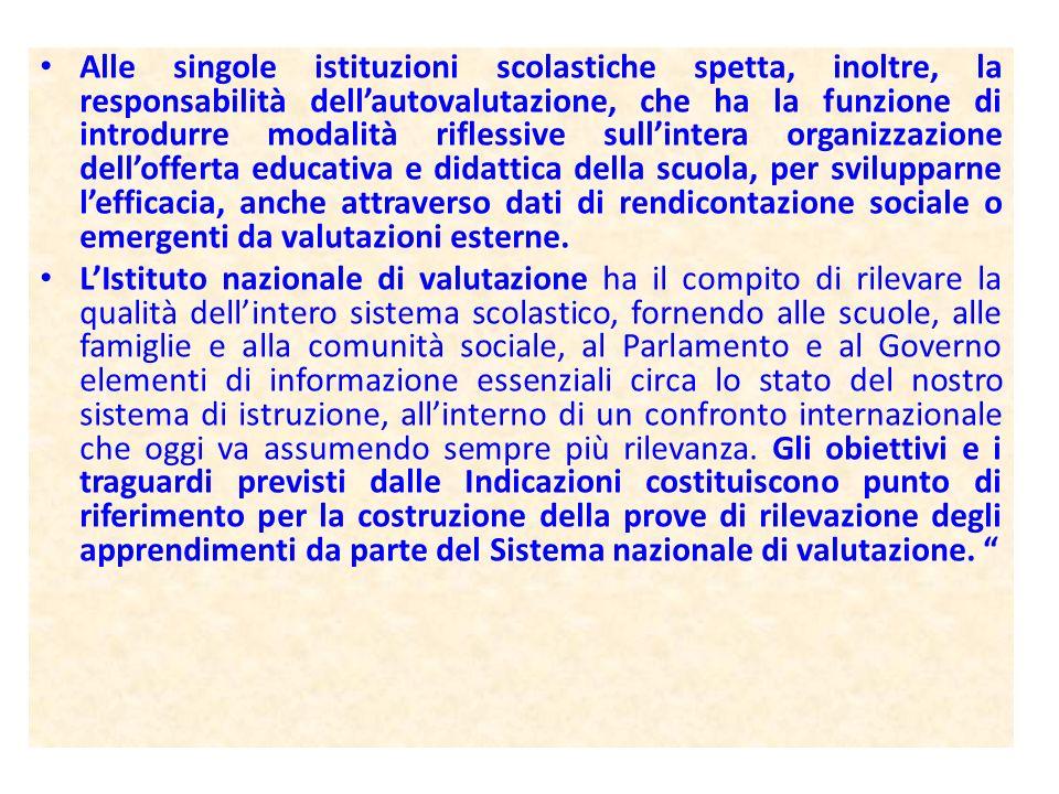 Alle singole istituzioni scolastiche spetta, inoltre, la responsabilità dellautovalutazione, che ha la funzione di introdurre modalità riflessive sull