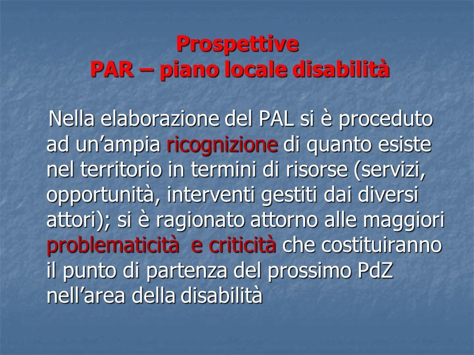 Prospettive PAR – piano locale disabilità Nella elaborazione del PAL si è proceduto ad unampia ricognizione di quanto esiste nel territorio in termini
