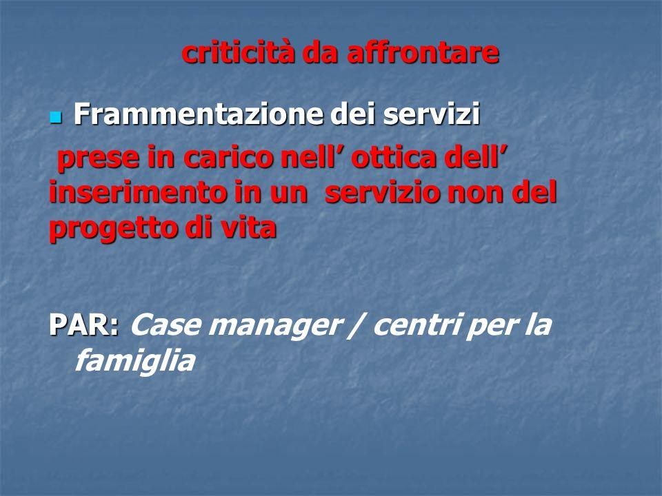 criticità da affrontare Frammentazione dei servizi Frammentazione dei servizi prese in carico nell ottica dell inserimento in un servizio non del prog