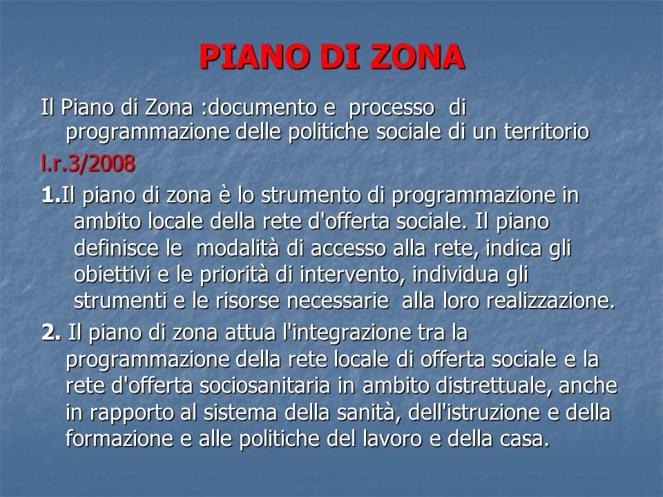 PIANO DI ZONA Il Piano di Zona :documento e processo di programmazione delle politiche sociale di un territorio l.r.3/2008 1.Il piano di zona è lo strumento di programmazione in ambito locale della rete d offerta sociale.