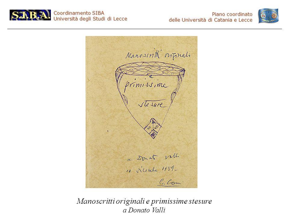 Coordinamento SIBA Università degli Studi di Lecce Piano coordinato delle Università di Catania e Lecce Manoscritti originali e primissime stesure a Donato Valli