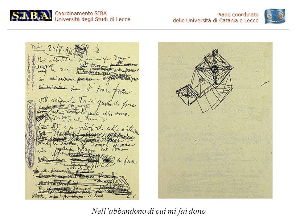 Coordinamento SIBA Università degli Studi di Lecce Piano coordinato delle Università di Catania e Lecce Nellabbandono di cui mi fai dono