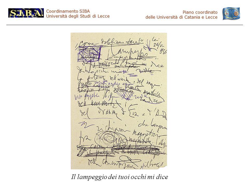 Coordinamento SIBA Università degli Studi di Lecce Piano coordinato delle Università di Catania e Lecce Il lampeggio dei tuoi occhi mi dice