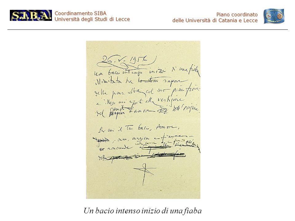 Coordinamento SIBA Università degli Studi di Lecce Piano coordinato delle Università di Catania e Lecce Un bacio intenso inizio di una fiaba