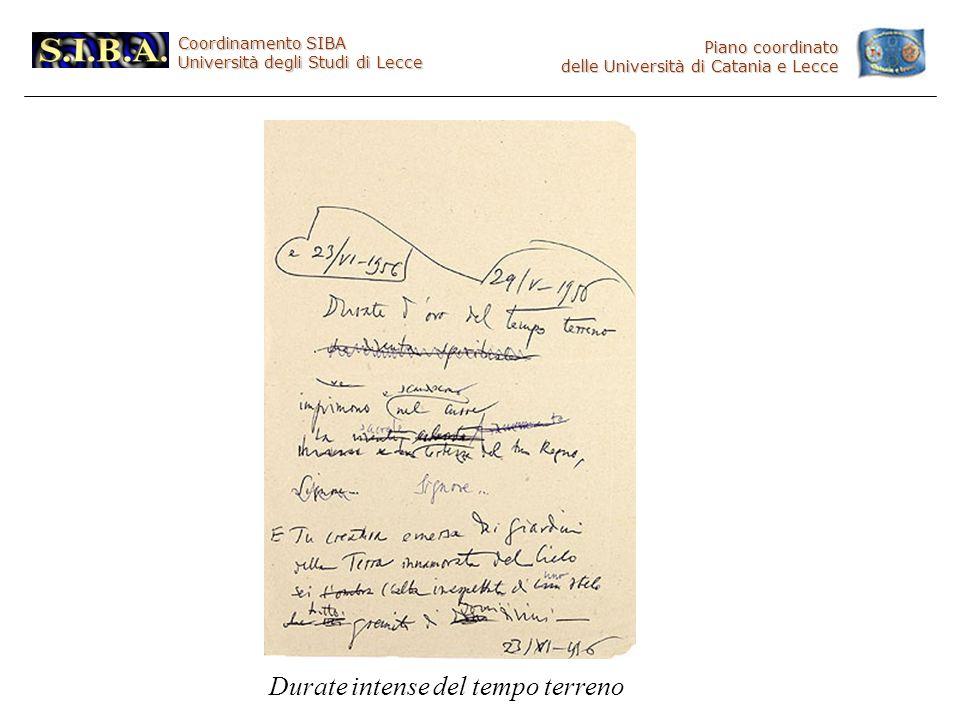 Coordinamento SIBA Università degli Studi di Lecce Piano coordinato delle Università di Catania e Lecce Durate intense del tempo terreno