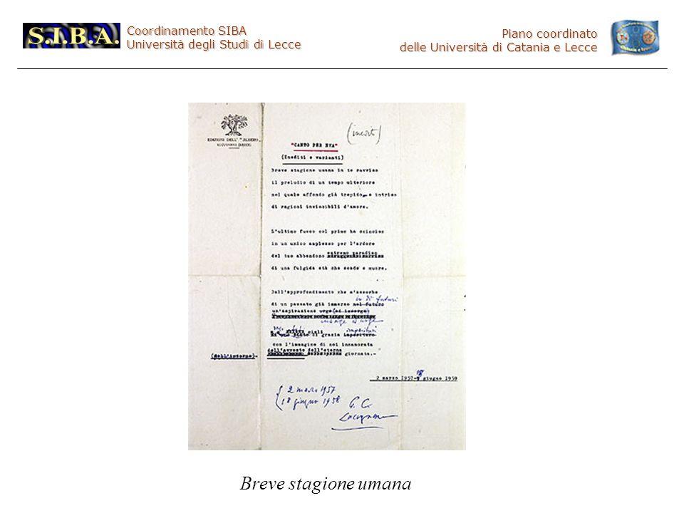 Coordinamento SIBA Università degli Studi di Lecce Piano coordinato delle Università di Catania e Lecce Breve stagione umana