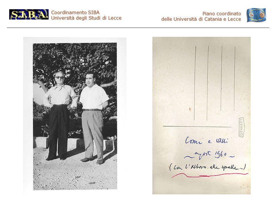 Coordinamento SIBA Università degli Studi di Lecce Piano coordinato delle Università di Catania e Lecce