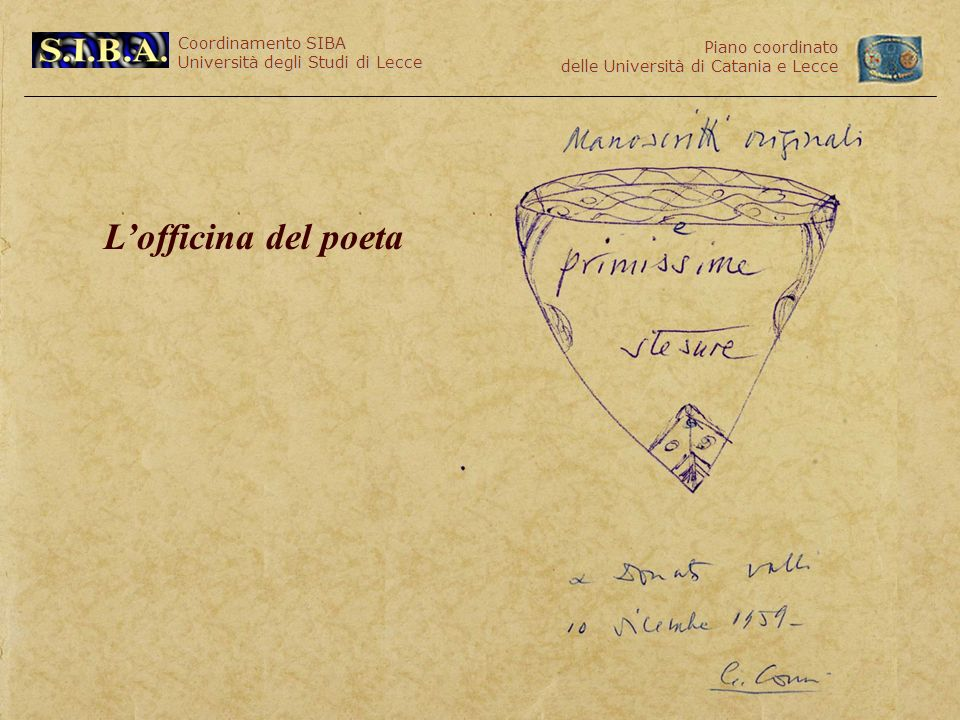 Coordinamento SIBA Università degli Studi di Lecce Piano coordinato delle Università di Catania e Lecce Lofficina del poeta
