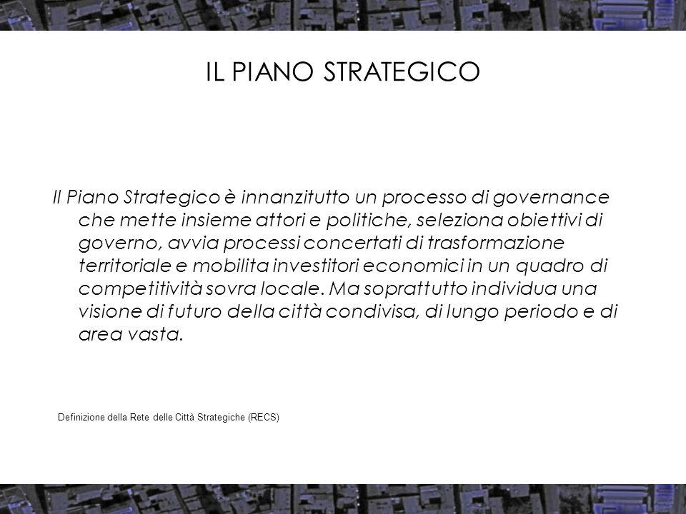 IL PIANO STRATEGICO Il Piano Strategico è innanzitutto un processo di governance che mette insieme attori e politiche, seleziona obiettivi di governo,