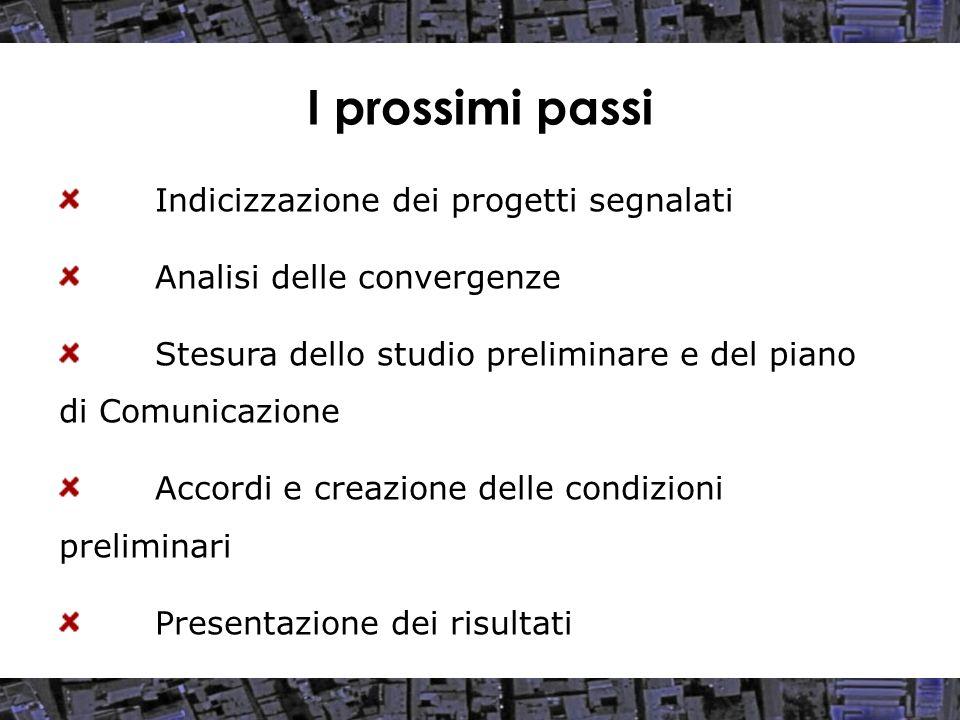 I prossimi passi Indicizzazione dei progetti segnalati Analisi delle convergenze Stesura dello studio preliminare e del piano di Comunicazione Accordi