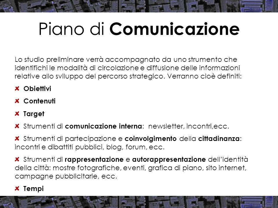 Piano di Comunicazione Lo studio preliminare verrà accompagnato da uno strumento che identifichi le modalità di circolazione e diffusione delle inform