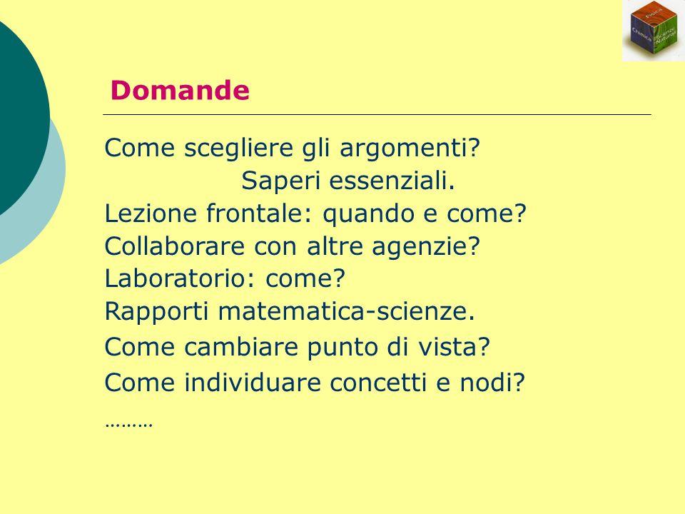 Come scegliere gli argomenti? Saperi essenziali. Lezione frontale: quando e come? Collaborare con altre agenzie? Laboratorio: come? Rapporti matematic