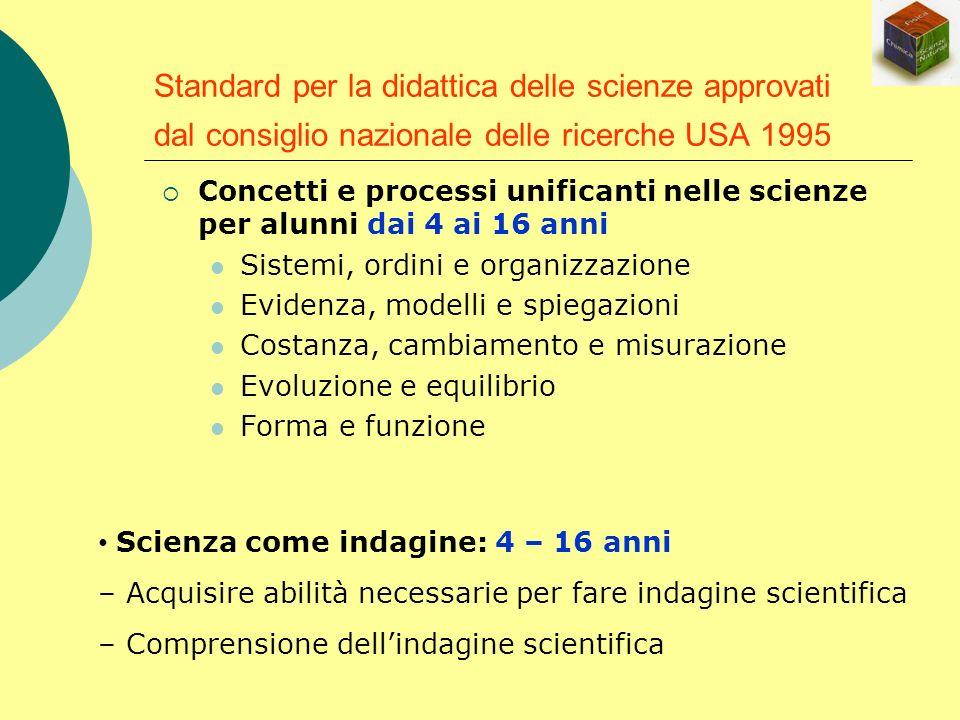 Standard per la didattica delle scienze approvati dal consiglio nazionale delle ricerche USA 1995 Concetti e processi unificanti nelle scienze per alu