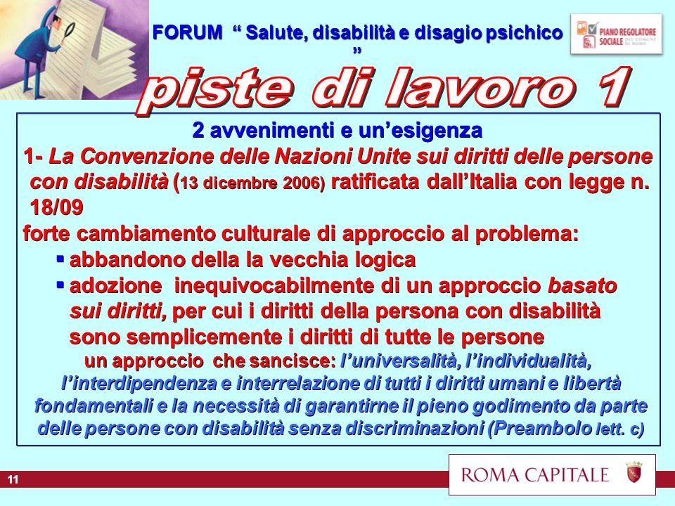 1/20 2 avvenimenti e unesigenza 1- La Convenzione delle Nazioni Unite sui diritti delle persone con disabilità ( 13 dicembre 2006) ratificata dallItalia con legge n.