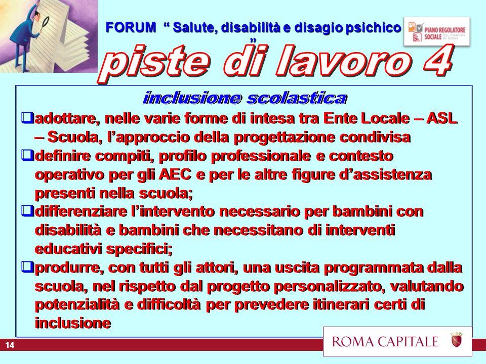 FORUM Salute, disabilità e disagio psichico FORUM Salute, disabilità e disagio psichico 14