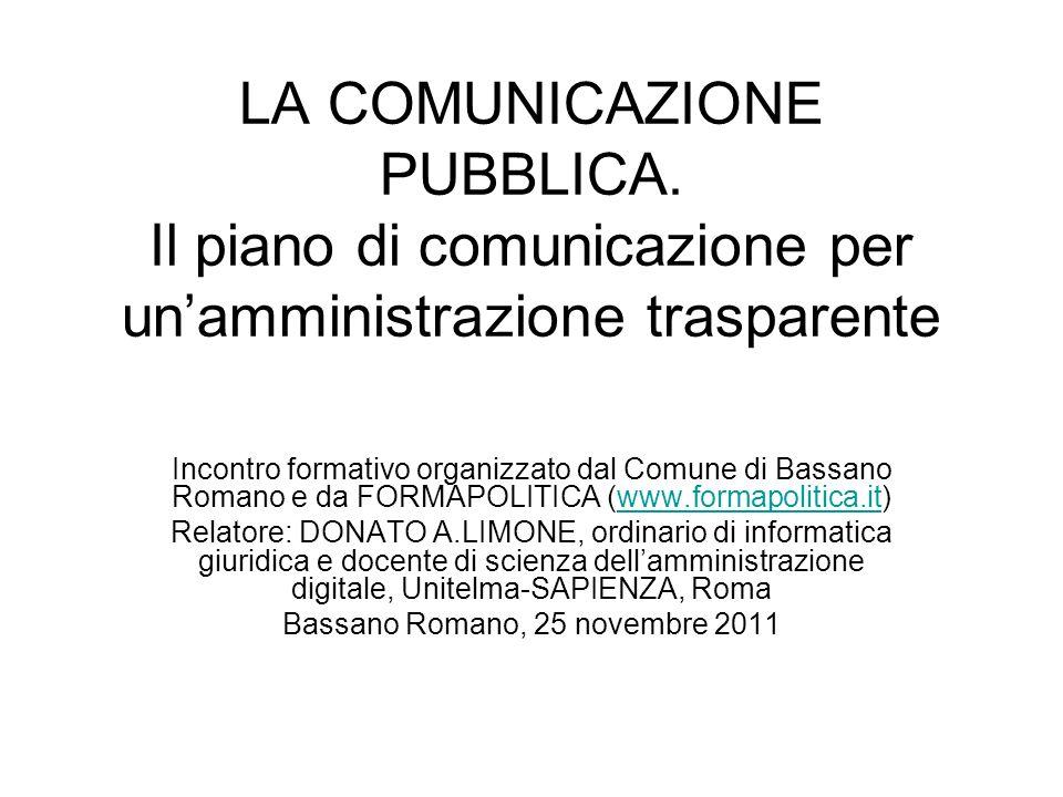 LA COMUNICAZIONE PUBBLICA. Il piano di comunicazione per unamministrazione trasparente Incontro formativo organizzato dal Comune di Bassano Romano e d
