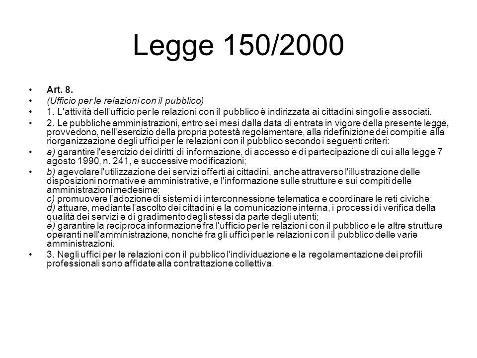 Legge 150/2000 Art. 8. (Ufficio per le relazioni con il pubblico) 1. L'attività dell'ufficio per le relazioni con il pubblico è indirizzata ai cittadi
