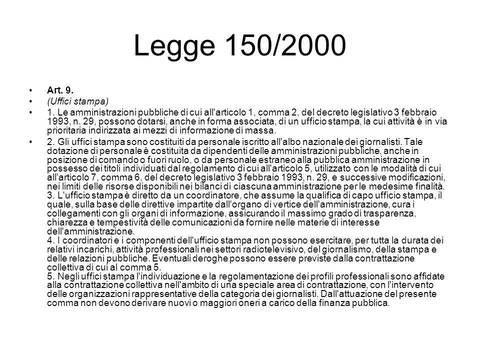 Legge 150/2000 Art. 9. (Uffici stampa) 1. Le amministrazioni pubbliche di cui all'articolo 1, comma 2, del decreto legislativo 3 febbraio 1993, n. 29,