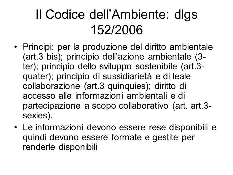 Il Codice dellAmbiente: dlgs 152/2006 Principi: per la produzione del diritto ambientale (art.3 bis); principio dellazione ambientale (3- ter); princi