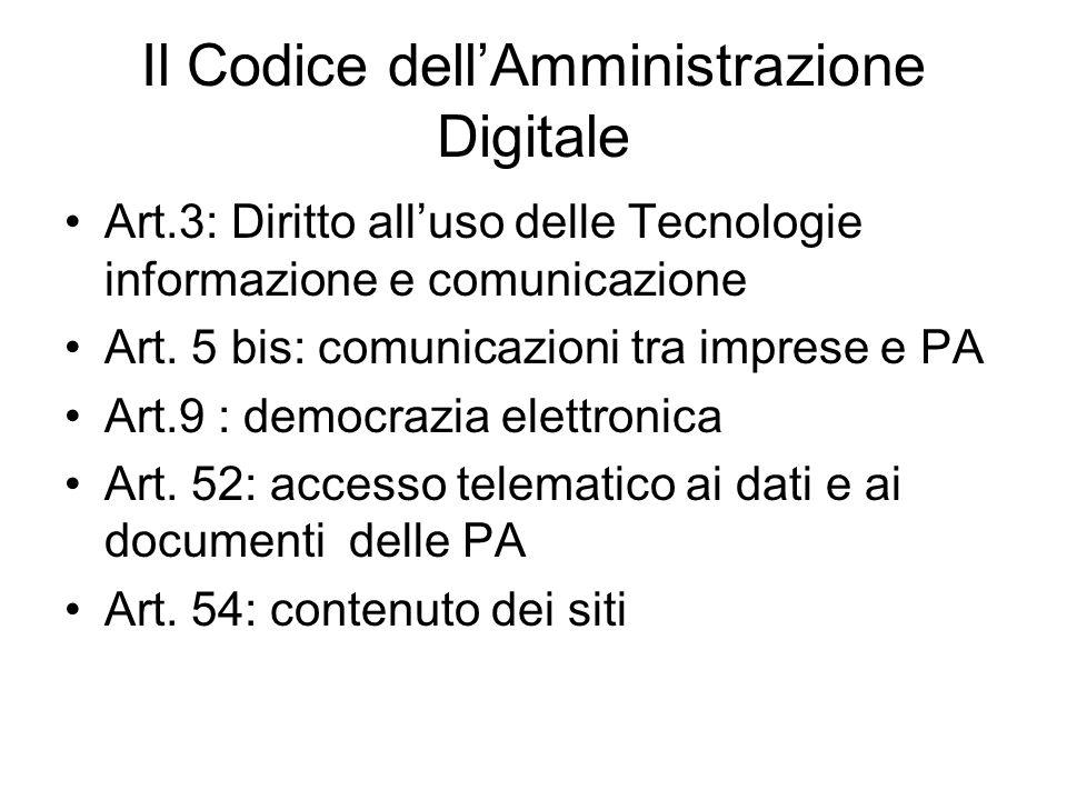 Il Codice dellAmministrazione Digitale Art.3: Diritto alluso delle Tecnologie informazione e comunicazione Art. 5 bis: comunicazioni tra imprese e PA