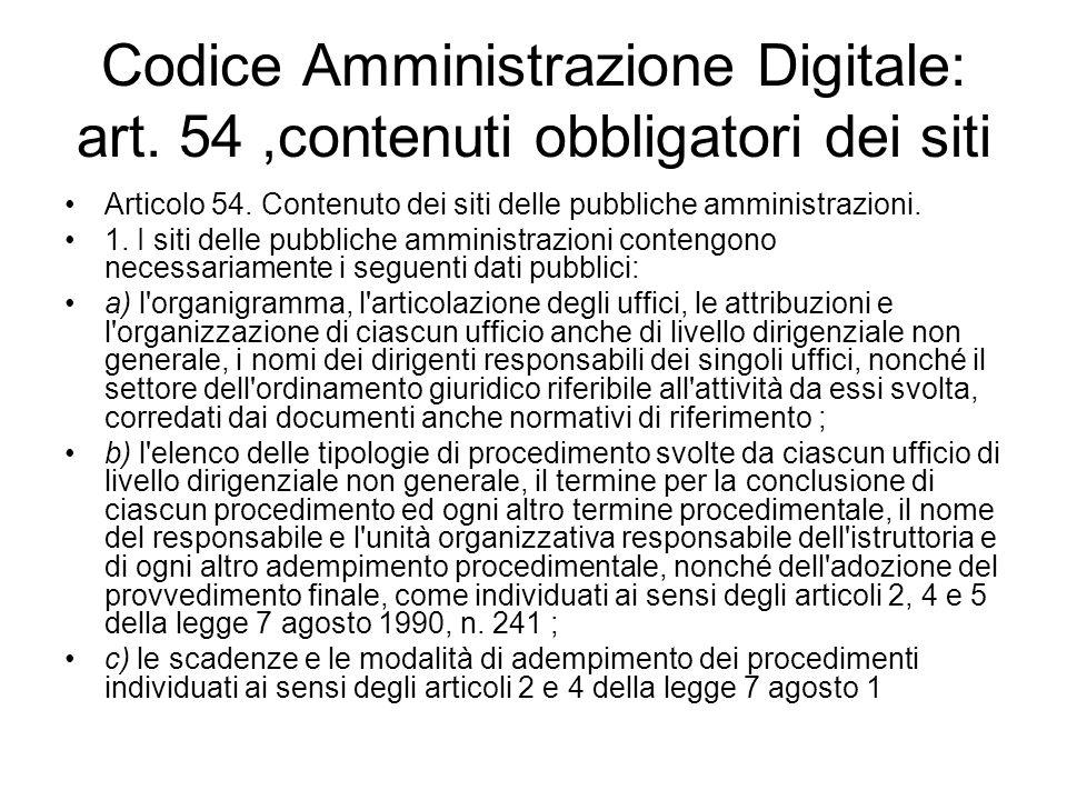 Codice Amministrazione Digitale: art. 54,contenuti obbligatori dei siti Articolo 54. Contenuto dei siti delle pubbliche amministrazioni. 1. I siti del