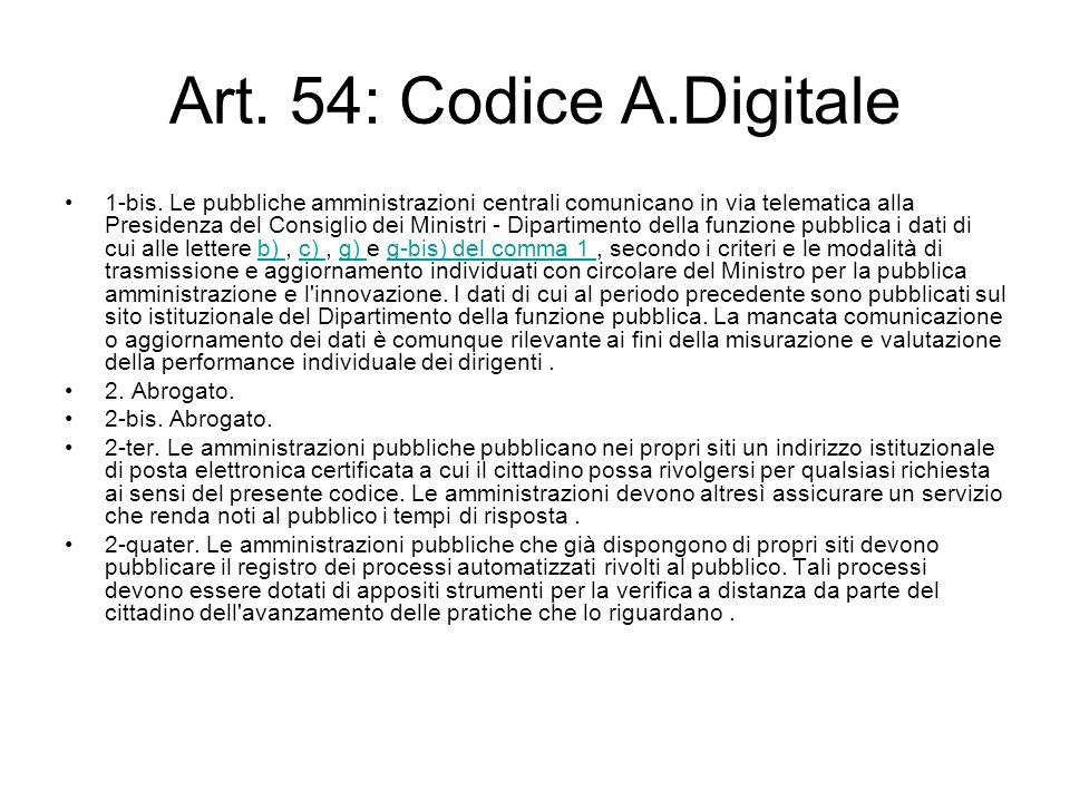 Art. 54: Codice A.Digitale 1-bis. Le pubbliche amministrazioni centrali comunicano in via telematica alla Presidenza del Consiglio dei Ministri - Dipa
