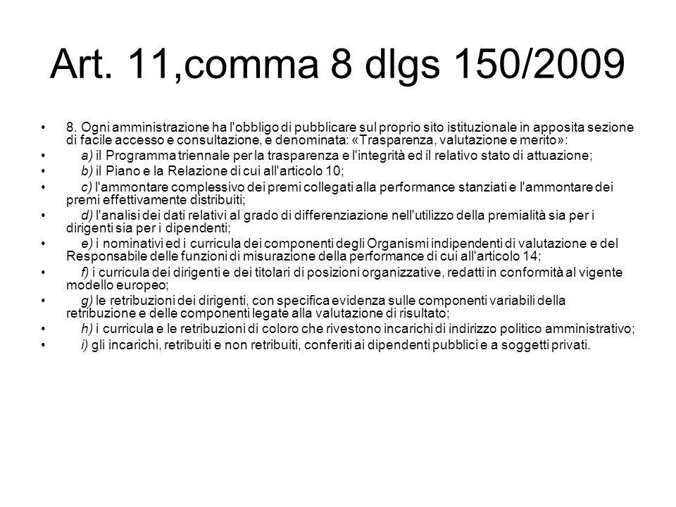 Art. 11,comma 8 dlgs 150/2009 8. Ogni amministrazione ha l'obbligo di pubblicare sul proprio sito istituzionale in apposita sezione di facile accesso