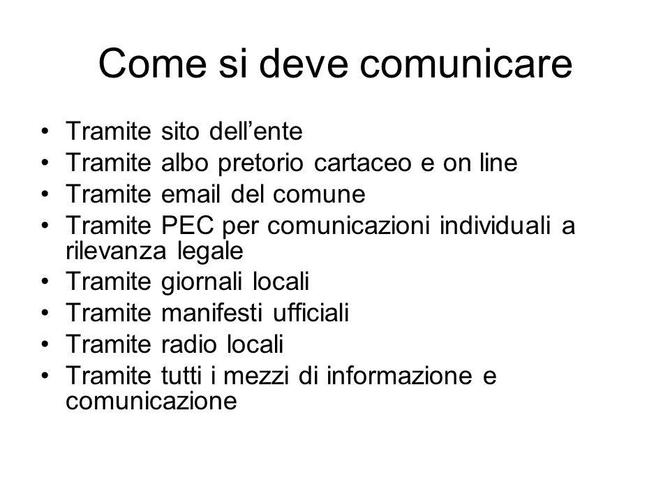 Come si deve comunicare Tramite sito dellente Tramite albo pretorio cartaceo e on line Tramite email del comune Tramite PEC per comunicazioni individu