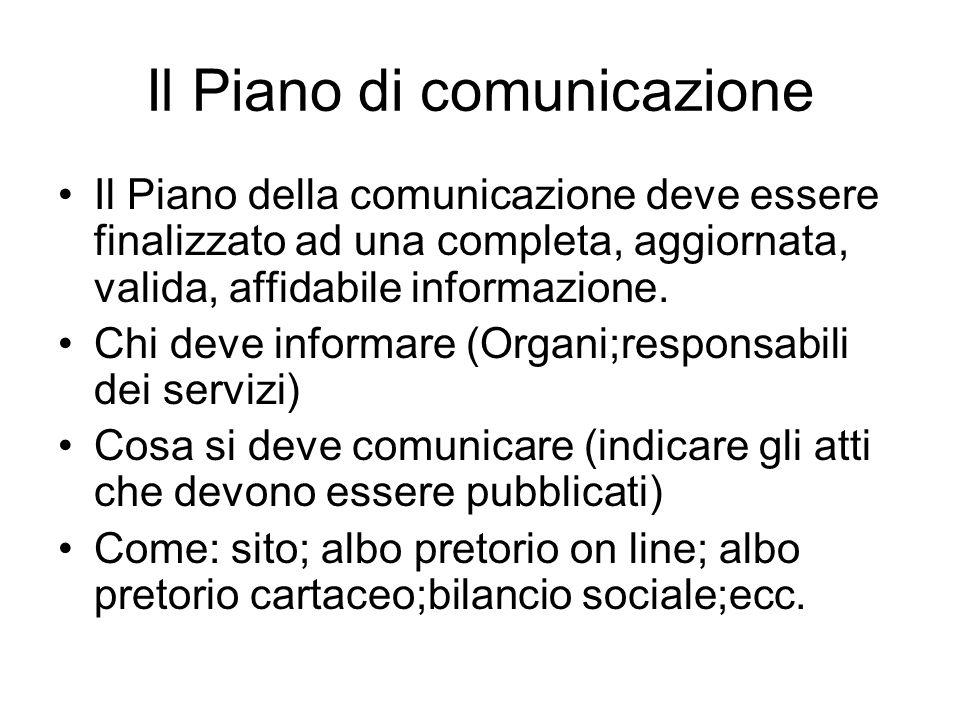 Il Piano di comunicazione Il Piano della comunicazione deve essere finalizzato ad una completa, aggiornata, valida, affidabile informazione.