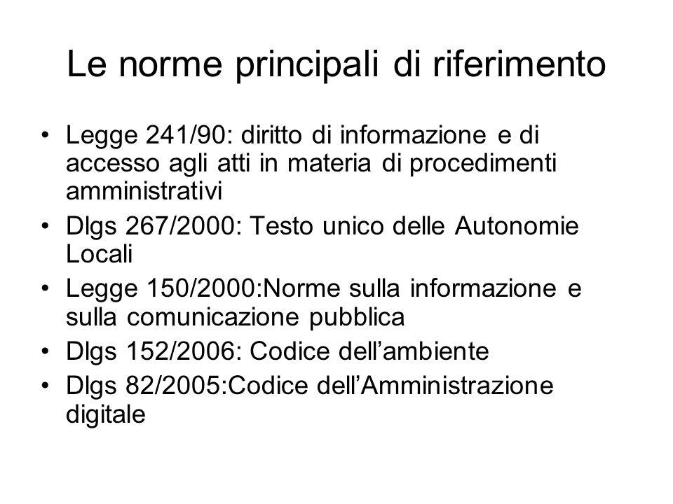 Le norme principali di riferimento Legge 241/90: diritto di informazione e di accesso agli atti in materia di procedimenti amministrativi Dlgs 267/2000: Testo unico delle Autonomie Locali Legge 150/2000:Norme sulla informazione e sulla comunicazione pubblica Dlgs 152/2006: Codice dellambiente Dlgs 82/2005:Codice dellAmministrazione digitale