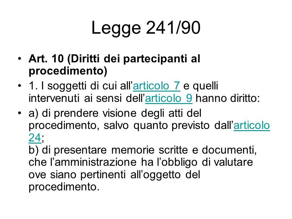 Legge 241/90 Art. 10 (Diritti dei partecipanti al procedimento) 1. I soggetti di cui allarticolo 7 e quelli intervenuti ai sensi dellarticolo 9 hanno