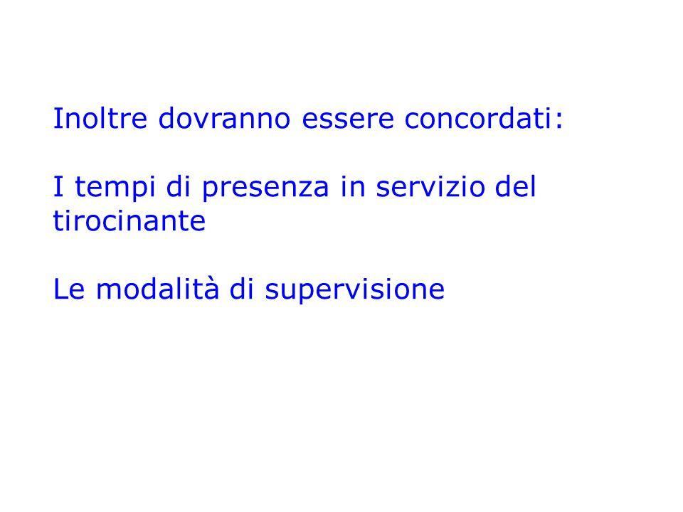 Inoltre dovranno essere concordati: I tempi di presenza in servizio del tirocinante Le modalità di supervisione