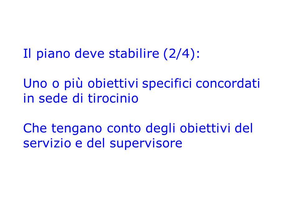 Il piano deve stabilire (2/4): Uno o più obiettivi specifici concordati in sede di tirocinio Che tengano conto degli obiettivi del servizio e del supe