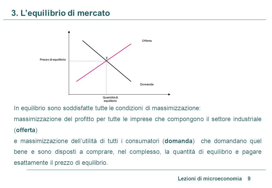 Lezioni di microeconomia 9 3. Lequilibrio di mercato In equilibrio sono soddisfatte tutte le condizioni di massimizzazione: massimizzazione del profit