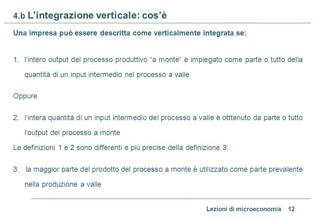 Lezioni di microeconomia 12 4.b Lintegrazione verticale: cosè Una impresa può essere descritta come verticalmente integrata se: 1.lintero output del p