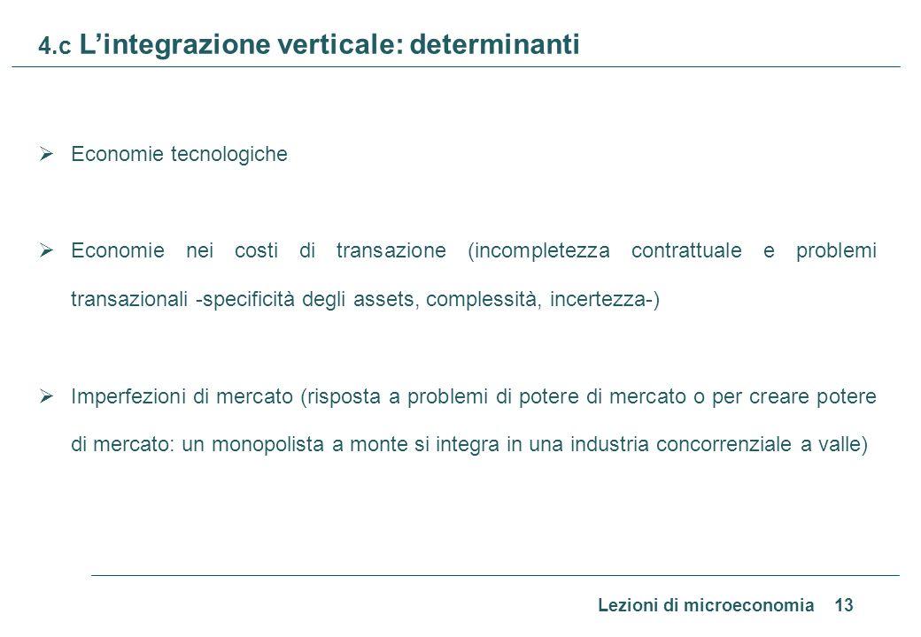 Lezioni di microeconomia 13 4.c Lintegrazione verticale: determinanti Economie tecnologiche Economie nei costi di transazione (incompletezza contrattu