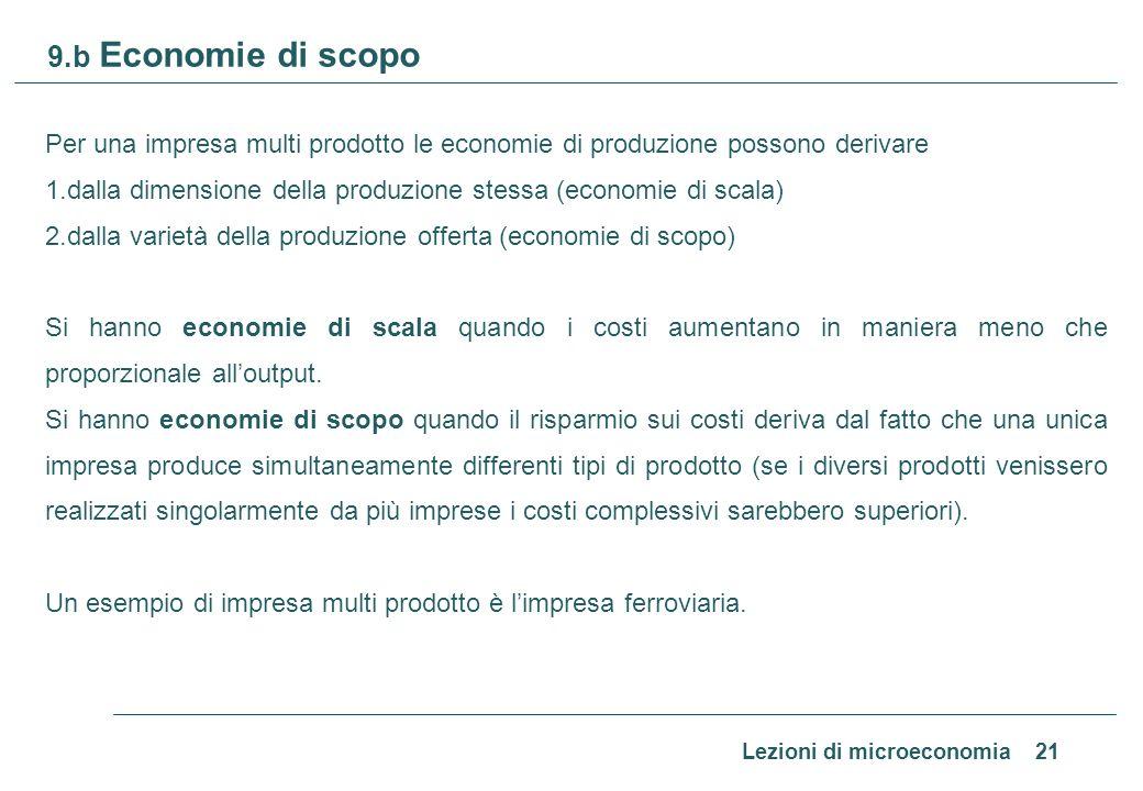Lezioni di microeconomia 21 9.b Economie di scopo Per una impresa multi prodotto le economie di produzione possono derivare 1.dalla dimensione della p