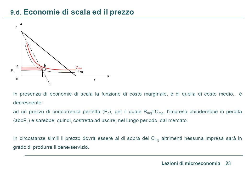 Lezioni di microeconomia 23 9.d. Economie di scala ed il prezzo In presenza di economie di scala la funzione di costo marginale, e di quella di costo