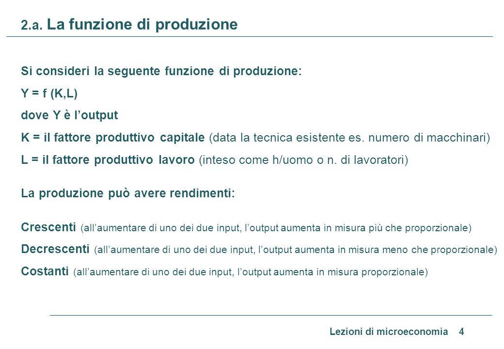 Lezioni di microeconomia 4 2.a. La funzione di produzione Si consideri la seguente funzione di produzione: Y = f (K,L) dove Y è loutput K = il fattore