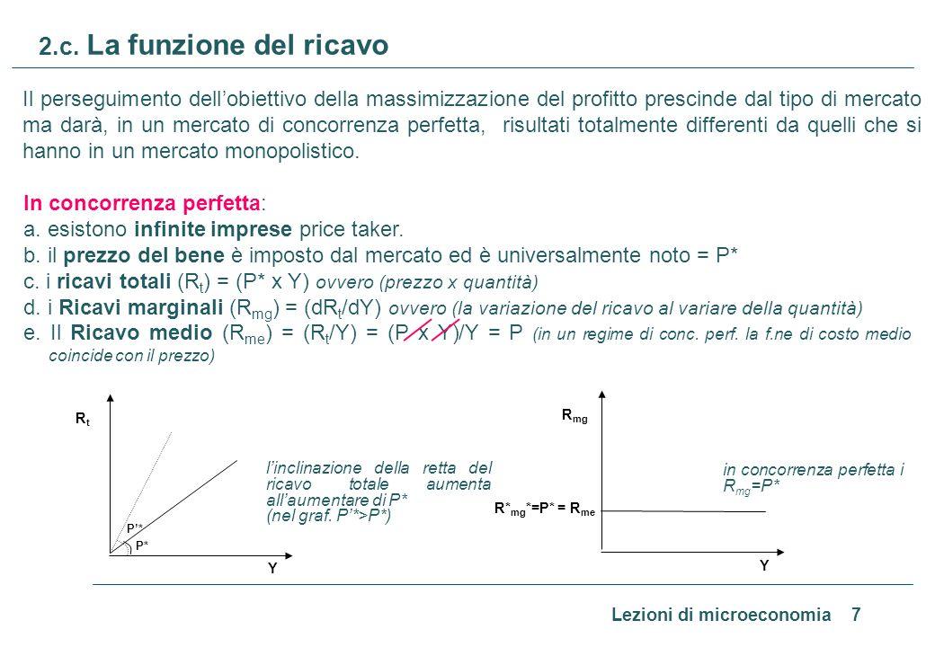 Lezioni di microeconomia 7 2.c. La funzione del ricavo Il perseguimento dellobiettivo della massimizzazione del profitto prescinde dal tipo di mercato