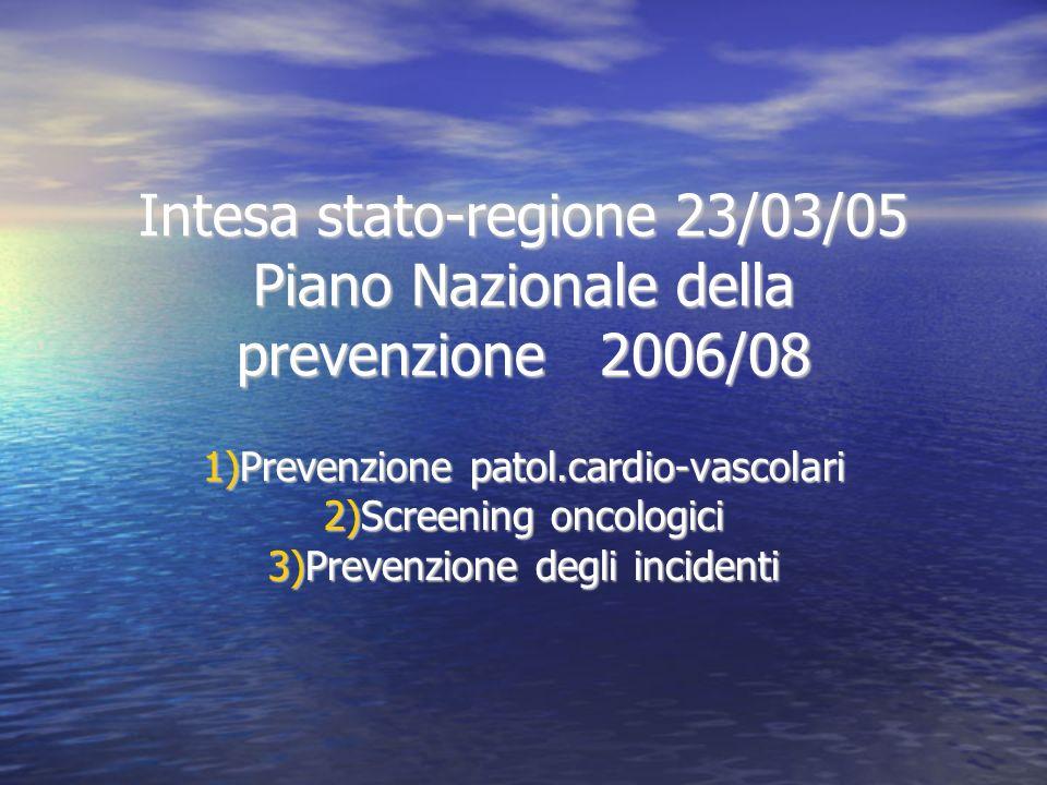 Intesa stato-regione 23/03/05 Piano Nazionale della prevenzione 2006/08 1)Prevenzione patol.cardio-vascolari 2)Screening oncologici 3)Prevenzione degli incidenti