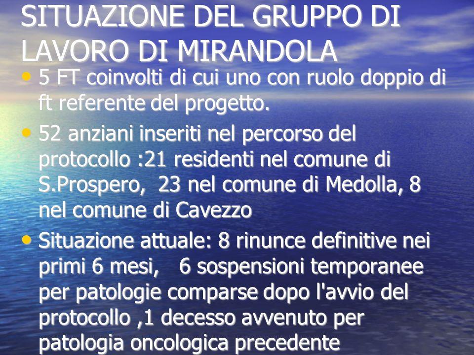 SITUAZIONE DEL GRUPPO DI LAVORO DI MIRANDOLA 5 FT coinvolti di cui uno con ruolo doppio di ft referente del progetto.