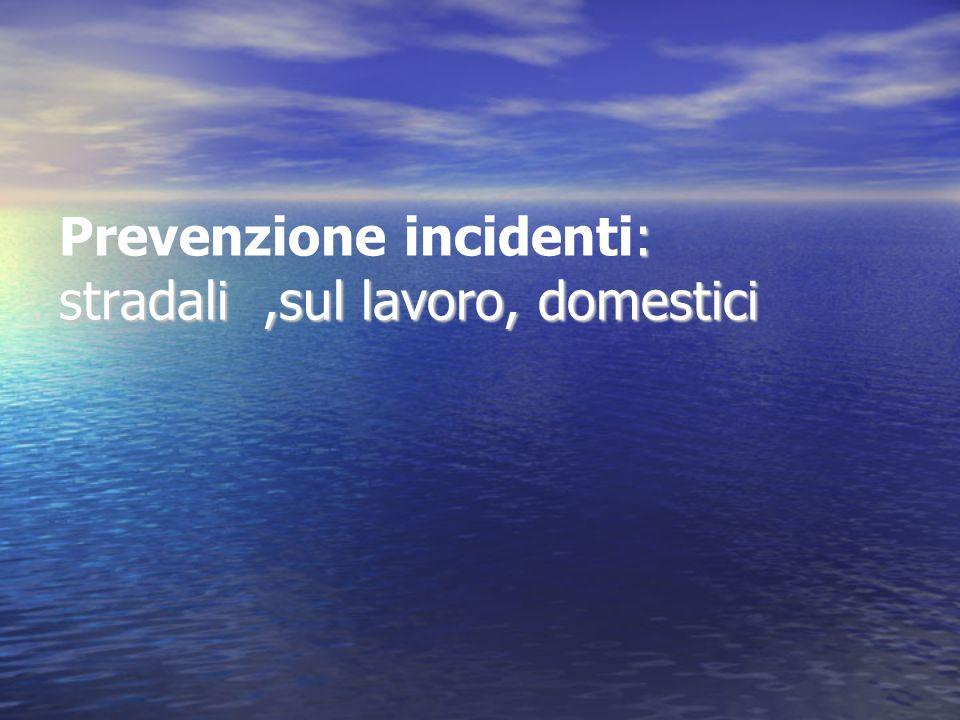 : stradali,sul lavoro, domestici Prevenzione incidenti: stradali,sul lavoro, domestici