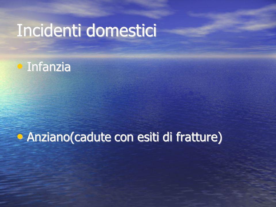 Incidenti domestici Infanzia Infanzia Anziano(cadute con esiti di fratture) Anziano(cadute con esiti di fratture)