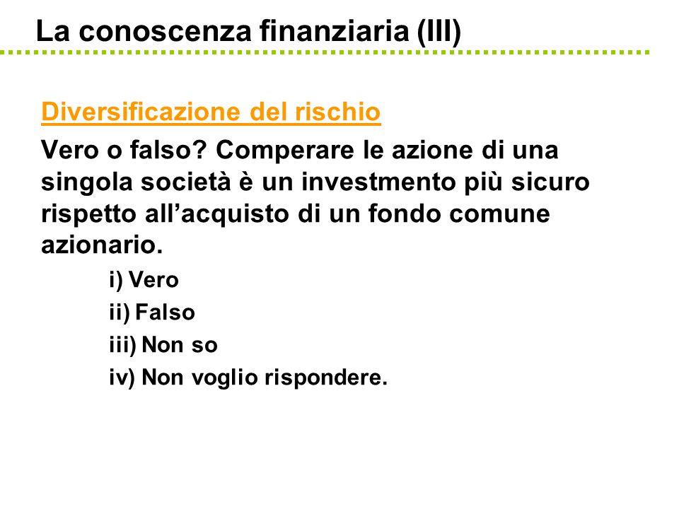 La conoscenza finanziaria (III) Diversificazione del rischio Vero o falso? Comperare le azione di una singola società è un investmento più sicuro risp