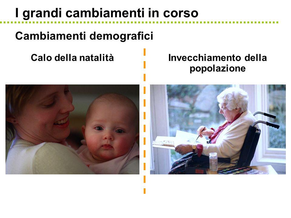I grandi cambiamenti in corso Cambiamenti demografici Calo della natalitàInvecchiamento della popolazione