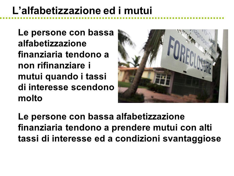 Lalfabetizzazione ed i mutui Le persone con bassa alfabetizzazione finanziaria tendono a prendere mutui con alti tassi di interesse ed a condizioni sv