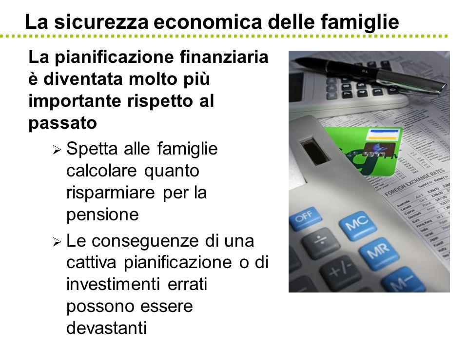 La sicurezza economica delle famiglie La pianificazione finanziaria è diventata molto più importante rispetto al passato Spetta alle famiglie calcolar
