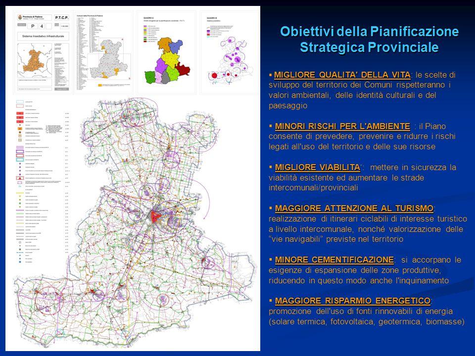 Obiettivi della Pianificazione Strategica Provinciale MIGLIORE QUALITA' DELLA VITA MIGLIORE QUALITA' DELLA VITA: le scelte di sviluppo del territorio