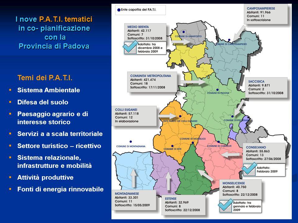 I nove P.A.T.I. tematici in co- pianificazione con la con la Provincia di Padova Temi dei P.A.T.I. Sistema Ambientale Difesa del suolo Paesaggio agrar